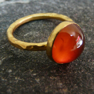 Handmade Hammered Cabochon Carnelian Ring Yellow Gold over 925K