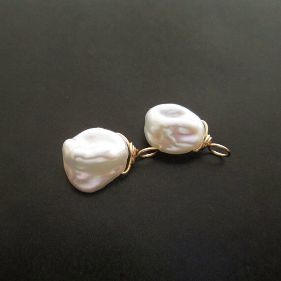 2 Ivory Keshi Pearl Wire Wrapped Interchangeable Drops
