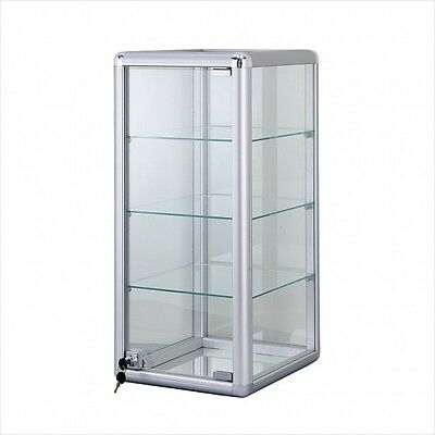 Glass Countertop Display Case Store Fixture Boutique Showcase Key Lock 3 Shelf