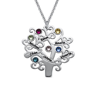 Family Tree Necklace with Birthstones -Sterling Silver- Personalized -USA - Personalized Family Tree Necklace