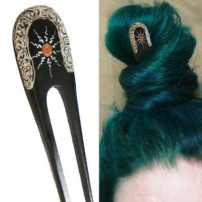 1PC Handcarved Black Paint Exotic Double Prong Hair Stick Painted Sun Metal - Black Hair Paint