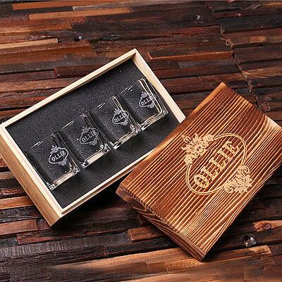 Personalized 4 Engraved Shot Glasses w/Keepsake Box, Groomsmen, Birthday, - Birthday Shot Glasses
