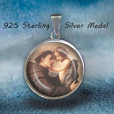 St Anthony Catholic Medal  Sterling Silver 925 Pendant 20Mm
