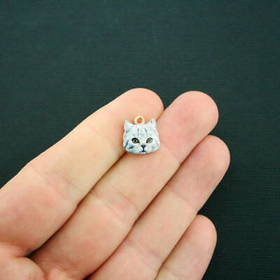 4 Cat Charms Gold Plated Enamel  Realistic White and Grey Blue Tabby E341