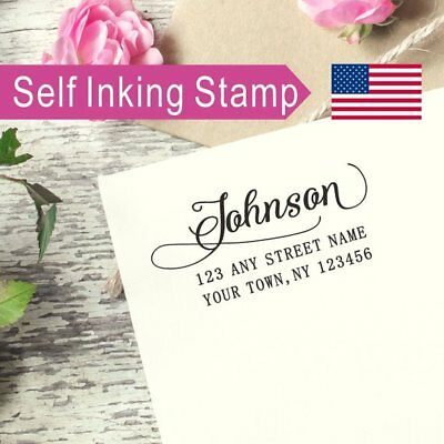 (Custom Self-inking Return Address Stamp Script Font last name Couple Gift AS062)