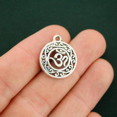 8 Om Charms Antique Silver Tone   Sc3269
