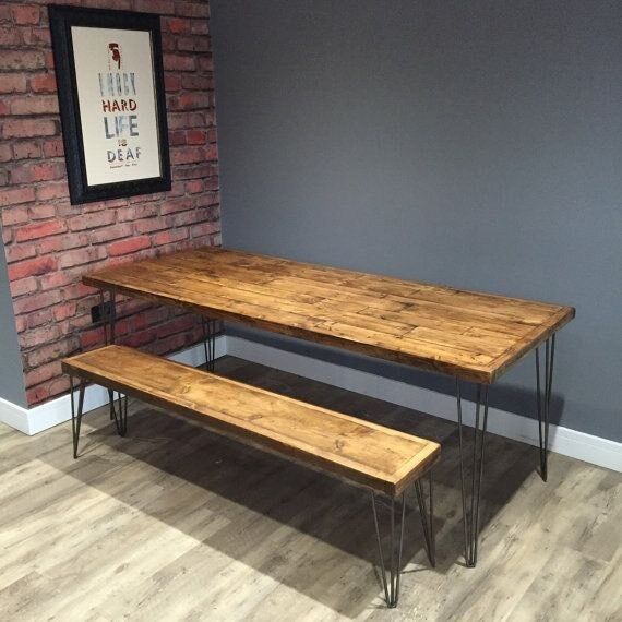 Dining Table Bench Wood Set Reclaimed Hairpin Legs