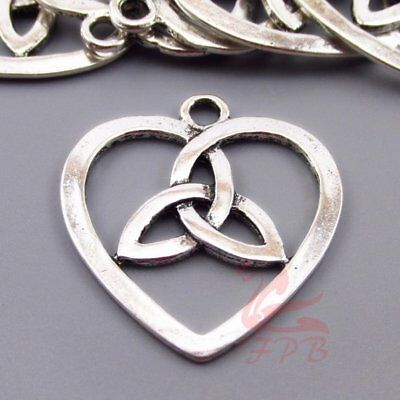 Celtic Trinity Knot Heart Charms 30mm Antiqued Silver Plated Pendants - 2/4/8PCs Plated Trinity Knot
