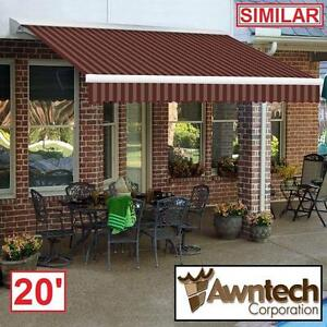 NEW AWNTECH 20' MANUAL AWNING - 116134631 - BEAUTYMARK (10 ft. Projection) TAN RED STRIPE AWNINGS SHADE OUTDOOR PATIO...