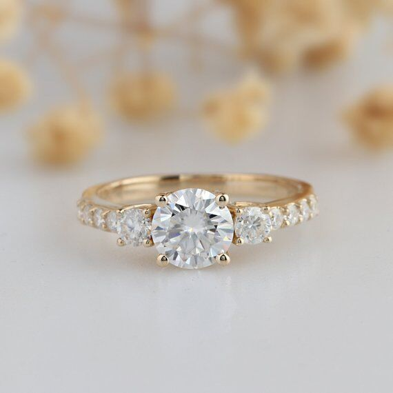 3-Stone Round Moissanite Wedding Engagement Ring 14k Yellow