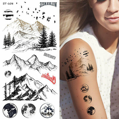 Supperb® Temporary Tattoos - Mountain Outline Moon Tree Birds Wildness Adventure