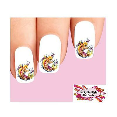 Waterslide Fish Nail Decals Set of 20 - Japanese Tattoo Koi with Cherry Blossoms - Tattoos Of Fish
