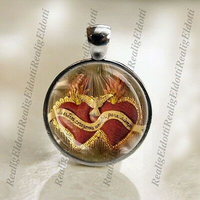 Medal Jewelry - Immaculate and Sacred Heart Jesus Catholic Medal Pendant Religious Jewelry