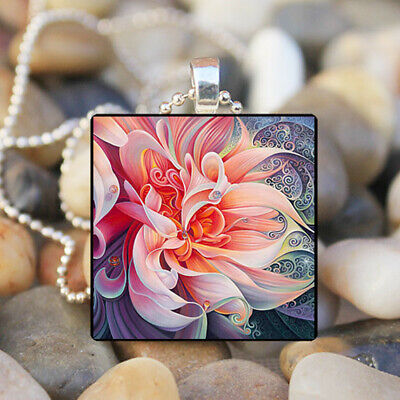 Peony flower photo Cabochon Glass Silver Tile Chain Pendant Necklace Jewelry