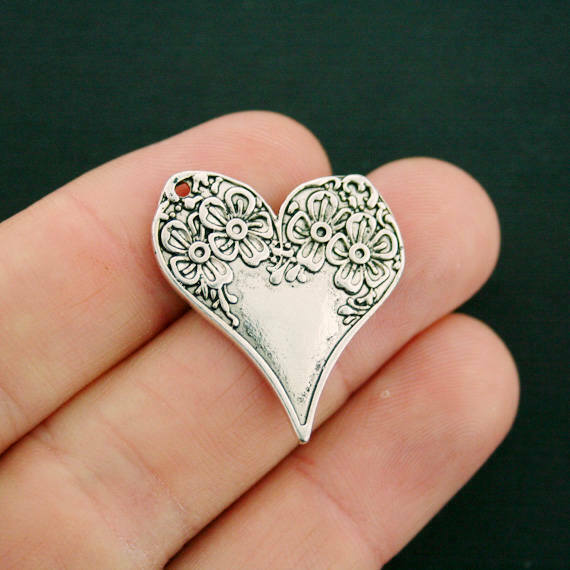 5 Floral Heart Charms Antique Silver Tone 2 Sided Intricate Detail - SC6217