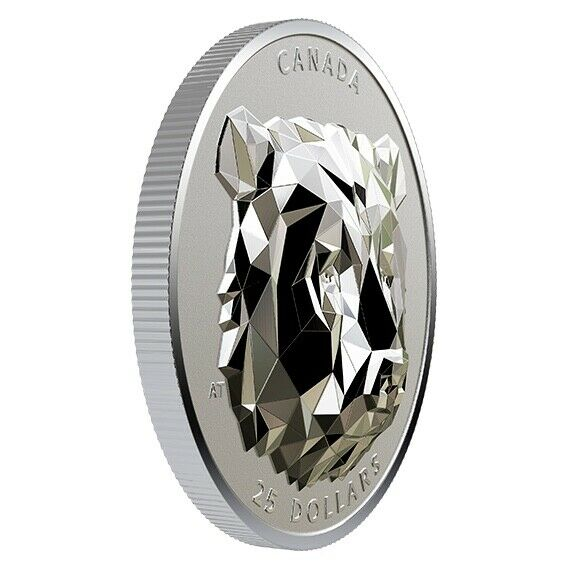 2020 Silver $25 Canadian Multifaceted Grizzly Bear-High Relief-Mintage: 2,500!