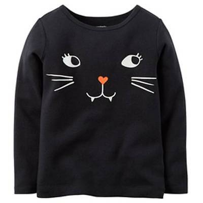 NWT Carter's Baby Girls' Black Kitty Face Halloween Tee, Size 6 months](Baby Kitty Face Halloween)