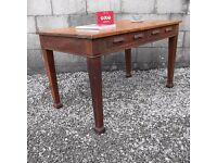 Vintage Mid Century Antique Oak Desk - Large 1950s 1960s Desk