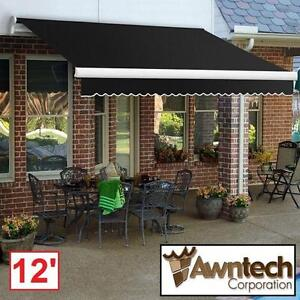 NEW AWNTECH 12' MANUAL AWNING - 116114780 - BEAUTYMARK (10 ft. Projection) BLACK AWNINGS SHADE OUTDOOR COVER PATIO SH...