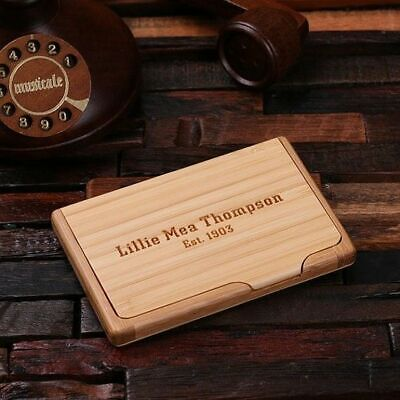 Personalized Wooden Card Holder Engraved Monogrammed Office Business Gift