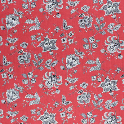 Cotton Red Black Cream Ivory Fabric Floral Jacobean Drapery Upholstery Toile IL9 ()