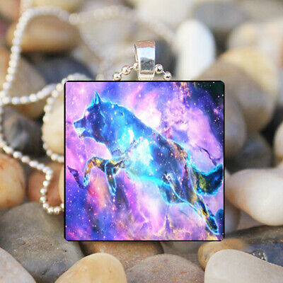 - VINTAGE Animals wolves Cabochon Glass Tile Chain Pendant Necklace Wolf Jewelry#4