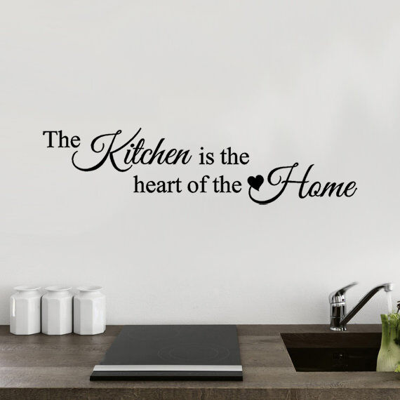 Home Decoration - The kitchen is the heart of the home -  Wall Quote Sticker - Art Decor