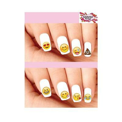 Waterslide Emoji Nail Decals Set Of 20   Emojis Smiley Face Hearts Lol Assorted