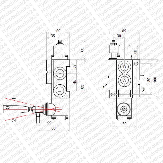 Handsteuerventil Handhebelventil Hydraulik 40L 1fach für Doppelwirkende Riegel