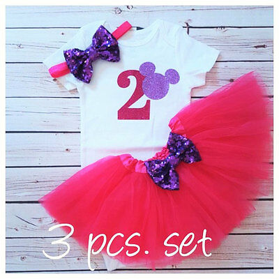 2nd birthday outfit,Minnie Mouse Inspired outfit,Hot Pink And Purple tutu set