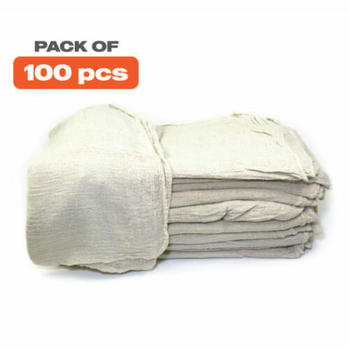 Shop Towels 14?x14? Wiping Cleaning Rags ? 100pcs - White