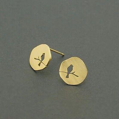 Ohrringe Damen Ohrstecker Vogel Kreis Münze Rund Gold Edelstahl Filigran Symbol