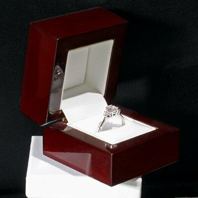 Cherrywood Collection Elegant Genuine Wood Engagement Wedding Band Ring Box