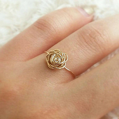 Gold rose ring, gold filled ring, wire rose ring, handmade jewelry delicate ring Gold Filled Wire Ring