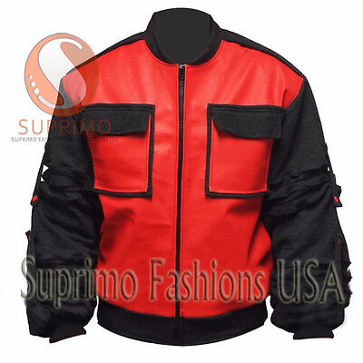 Back to the Future Marty McFly Bomber Leather Jacket with Black Cotton sleeves  - Marty Mcfly Jacket