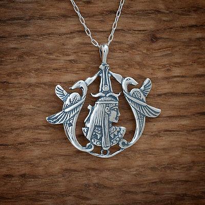 925 Sterling Silver Egyptian Goddess Isis Benu Phoenix Pendant FREE Cable Chain  - Goddess Phoenix