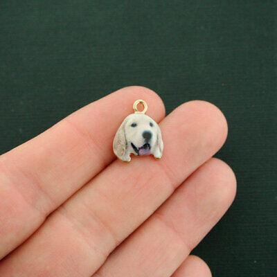 4 Dog Charms Gold Tone Enamel Labrador Retriever - E616 - Dog Charms