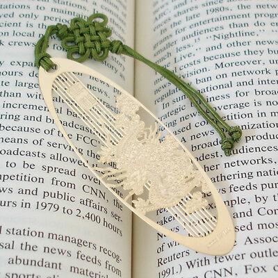 Dragon Knot Bookmark (Metal Golden Macrame Knots Dragon Oval Design)