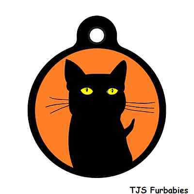 Black Cat-Cute Halloween Custom Personalized Pet ID Tag for Dog & Cat Collars
