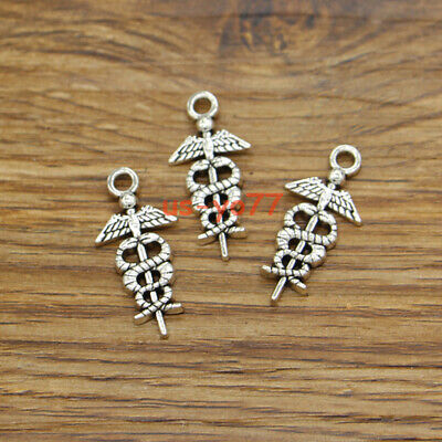 - 30 Caduceus Charm Medical Symbol Hospital Doctor Charm Antique Silver 12x26 3586