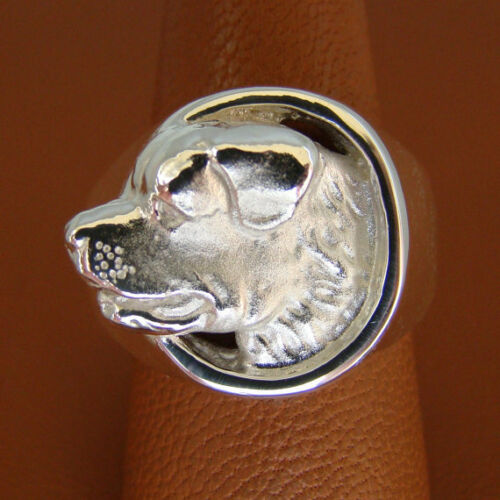 Sterling Silver Mens Rottweiler Head Study Ring