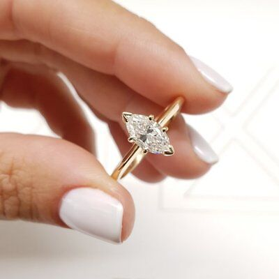 14k Gold Marquise Diamond Solitaire - 1.50 Ct Marquise Diamond Solitaire Engagement Wedding Ring 14k Solid Yellow Gold