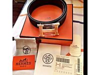 **AMAZING GIFTS HERMES LEATHER BELT & BOX**xx