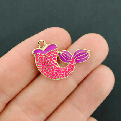 2 Mermaid Tail Charms Gold Tone and Pink Enamel - E633 (Pink Mermaid Charm)