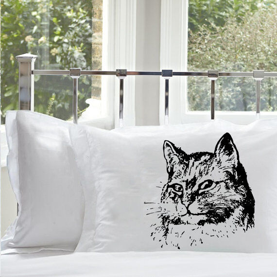 One (1) Black Retro Cat Pillowcase pillow cover case bedding kitten bedroom deco