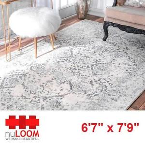 """NEW* NULOOM 6'7"""" x 7'9"""" AREA RUG - 125162820 - VINTAGE ODELL IVORY GREY CARPET CARPETS RUGS FLOORING DECOR ACCENTS MA..."""