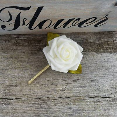 Ivory and Metallic Gold Rose Wedding Boutonnieres for Grooms, Groomsmen