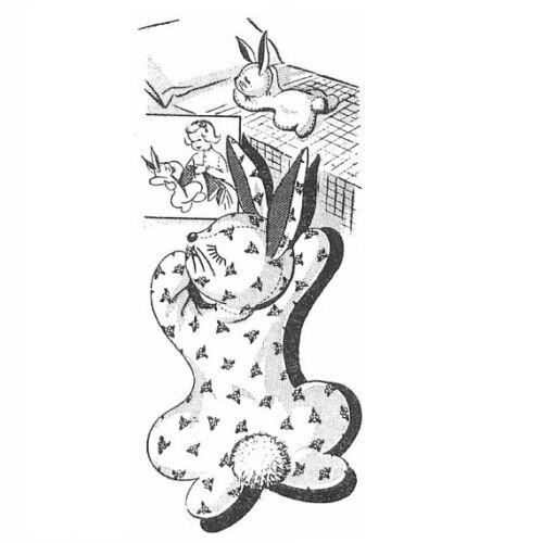 "24"" Rabbit Pajama Bag PATTERN 7248 Bunny Stuffed Toy 1960s TV Toy"