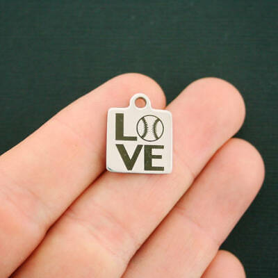 Baseball LOVE Stainless Steel Charm  - Quantity Options - BFS2783