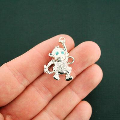 Monkey Charm Silver Tone With Inset Rhinestones Too Cute 3D - SC6838](Monkey Charm)
